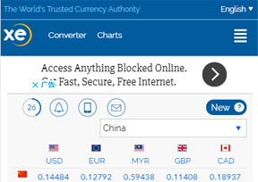 XE:在线捷汇实时货币转换平台